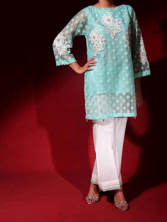 Floral Embellished Net Top with Silk Pant and Chiffon Dupatta