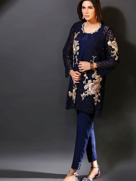 Midnight Blue Ready to Wear Gown Set