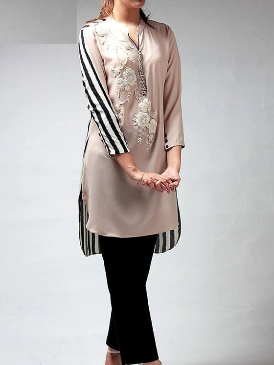 Floral Embellished Silk Kurti with Stripes back print with Silk Pants