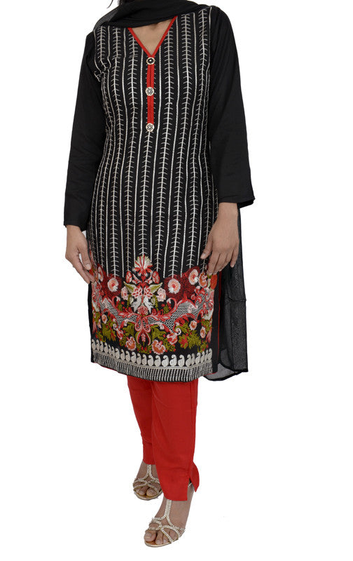 Cherry Red Floral Embroidered Butter Linen Outfit
