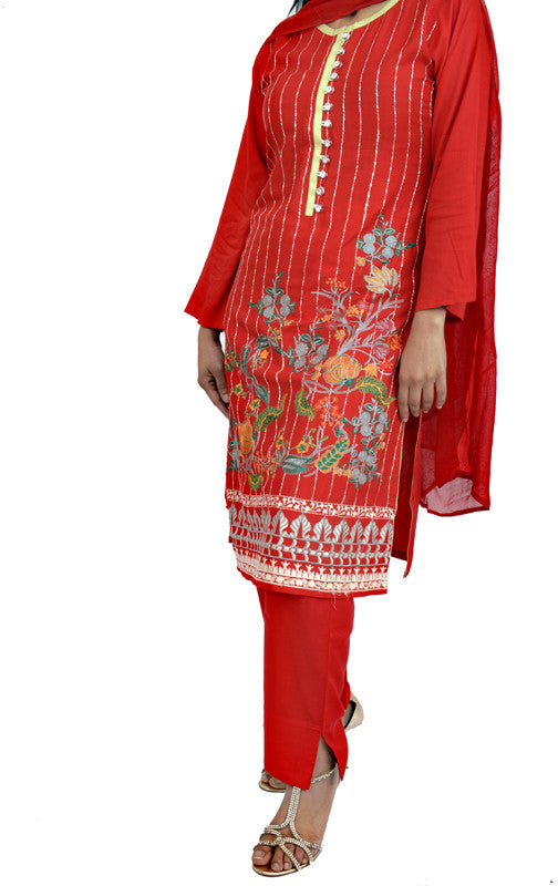 Embroidered Candy Red Ready to Wear Butter Linen