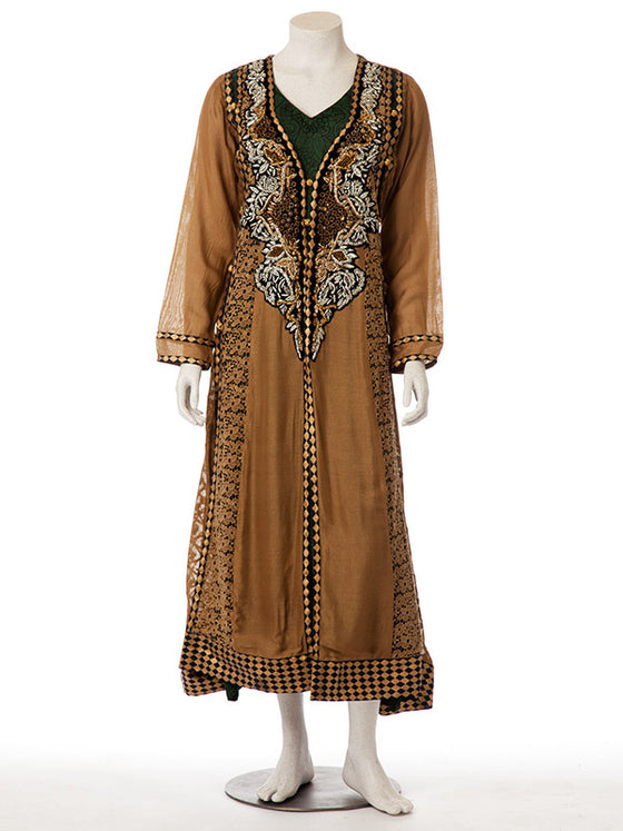 Embellished Bronze Brown Layered Gown with Bottle Green Undershirt
