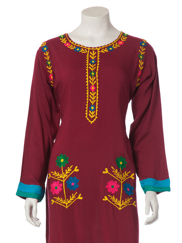 Maroon Arabian Linen with Multicolored Floral Embroidery