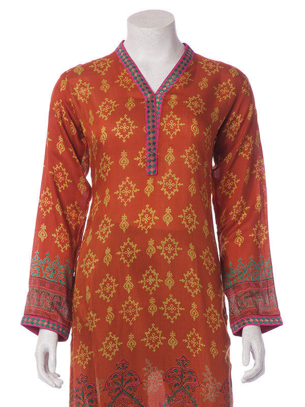 Rust Orange Linen Shirt with Multicolored Block Print and Embroidery