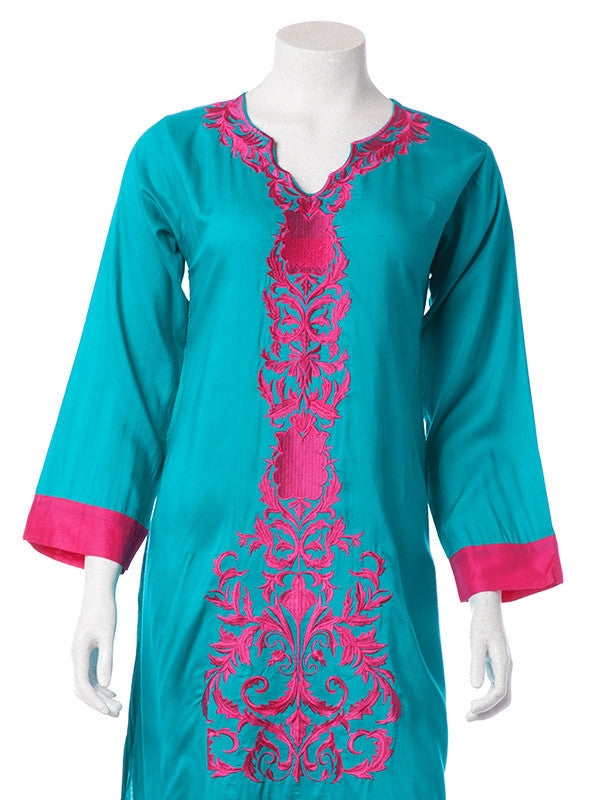 Blue Green Cotton Print Shirt with Pink Green Embroidery