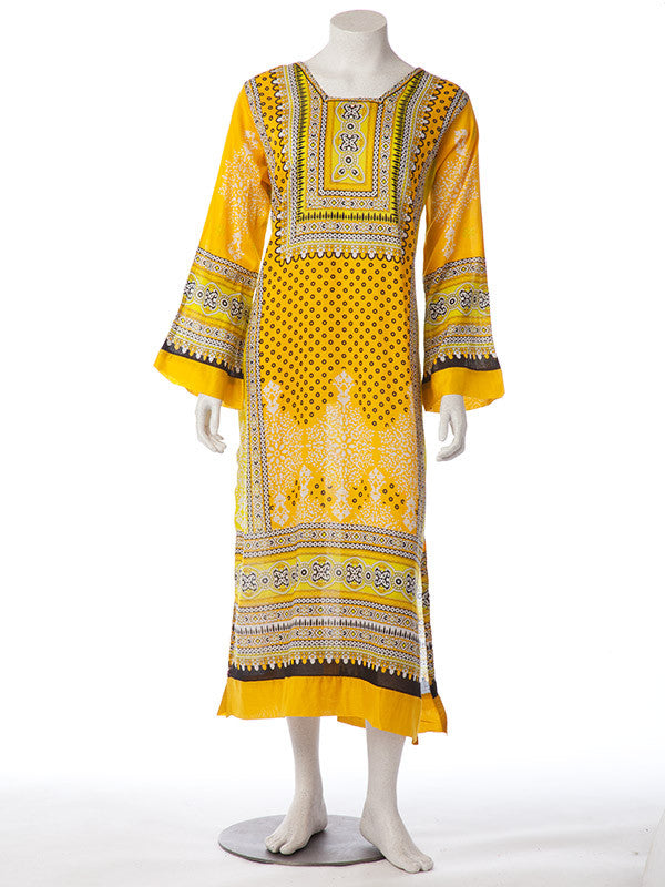Yellow Black Lawn Print Stitched Suit with Lawn Dupatta and Pants