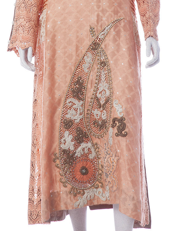 Peach Colored Organza Chiffon With Embroidered Net, Pearl & Stones Work