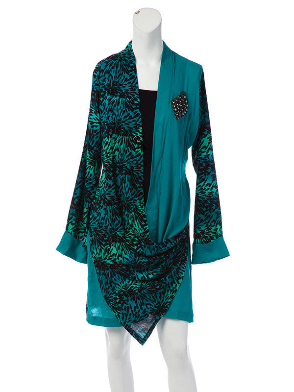 Turquoise Black Short Shirt with Beads and Sequined Trousers