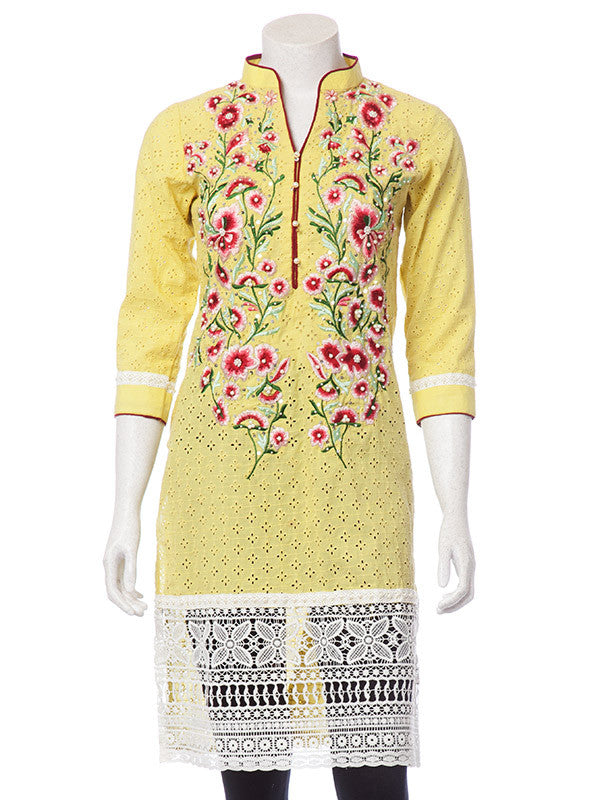 Multicolored Floral Embroidery on Lemon Yellow Net Shirt