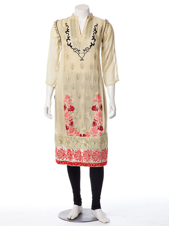 Multicolored Floral Embroidered work on Beige Chiffon Suit