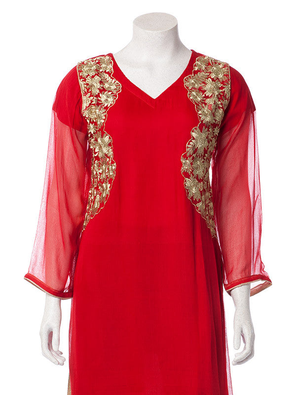 Golden Embroidery on Rose Red Chiffon Suit