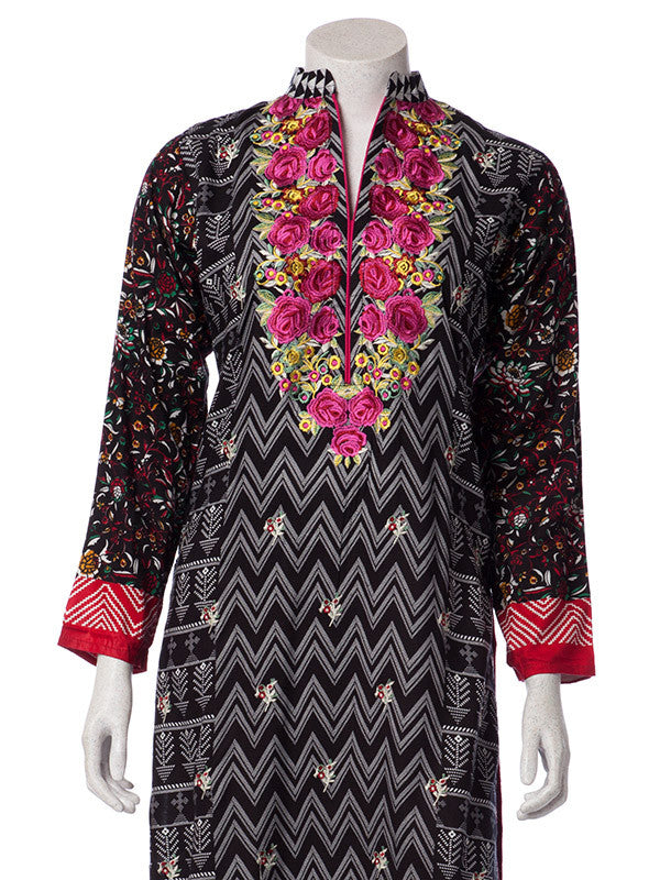 Magenta Pink Embroidery on Black Butter Linen Suit with Pashmina