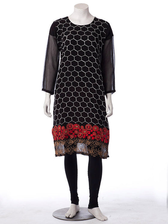 Black Chiffon Shirt with Silver Embroidery with Red and Gold Floral Details
