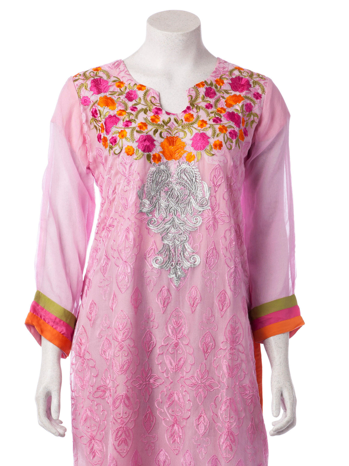 Floral Multicolored Embroidered Baby Pink Chiffon Suit