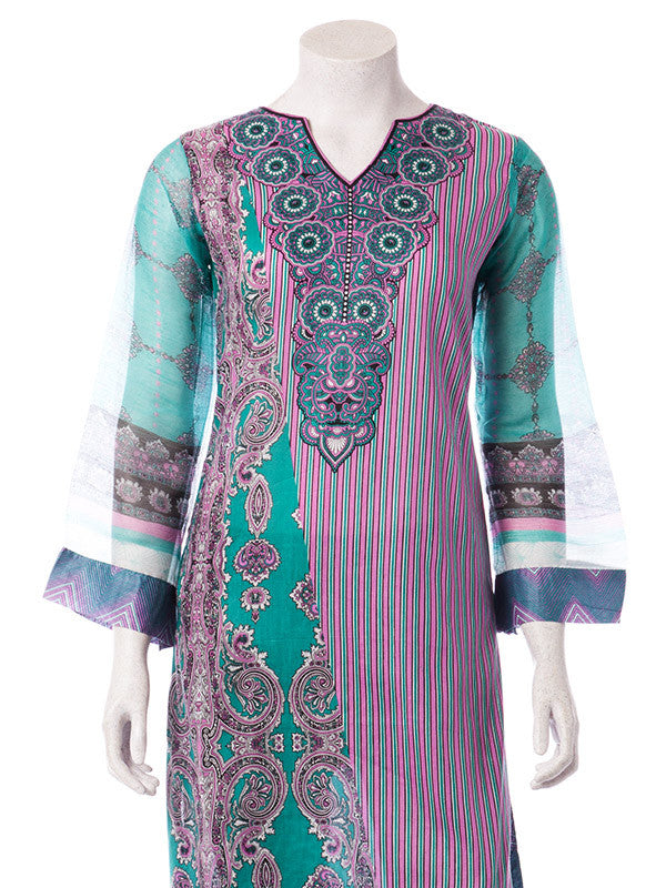 Purple and Turquoise Printed Lawn Ready to Wear Suit with Chiffon Sleeves and Dupatta