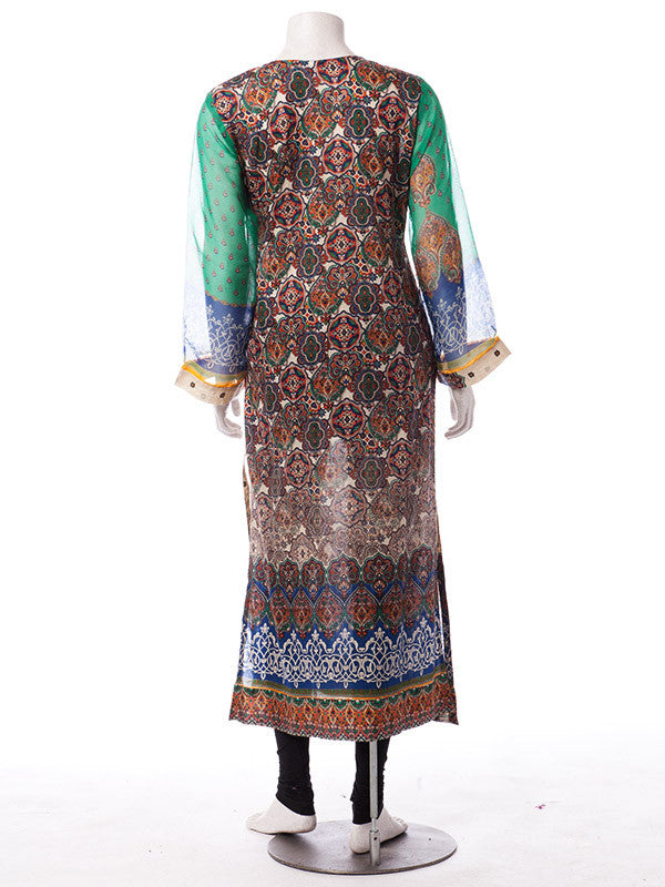 Stitched Off White Polka Dot Lawn Print with Chiffon Sleeves and Dupatta