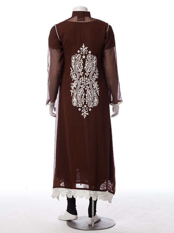 bbed8666f5 ... Pearl White Embroidery and Stones work on Chocolate Brown Chiffon Suit