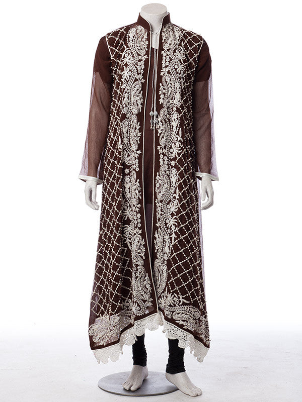 650588c622 Pearl White Embroidery and Stones work on Chocolate Brown Chiffon Suit ...