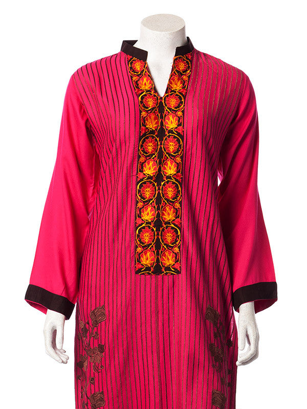 Multicolored Floral Embroidery on Fuscia Pink Butter Linen Suit