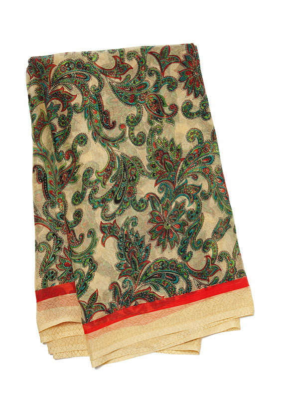 Multicolored Angrakha Print on printed Beige Lawn suit