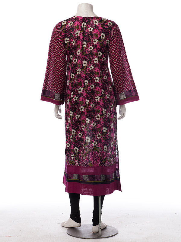 Black Pink Lawn Print Stitched Suit with Lawn Dupatta and Pants