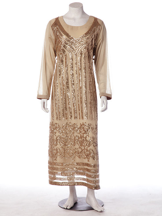 Golden Sides Slit Net Gown with Sequence Details