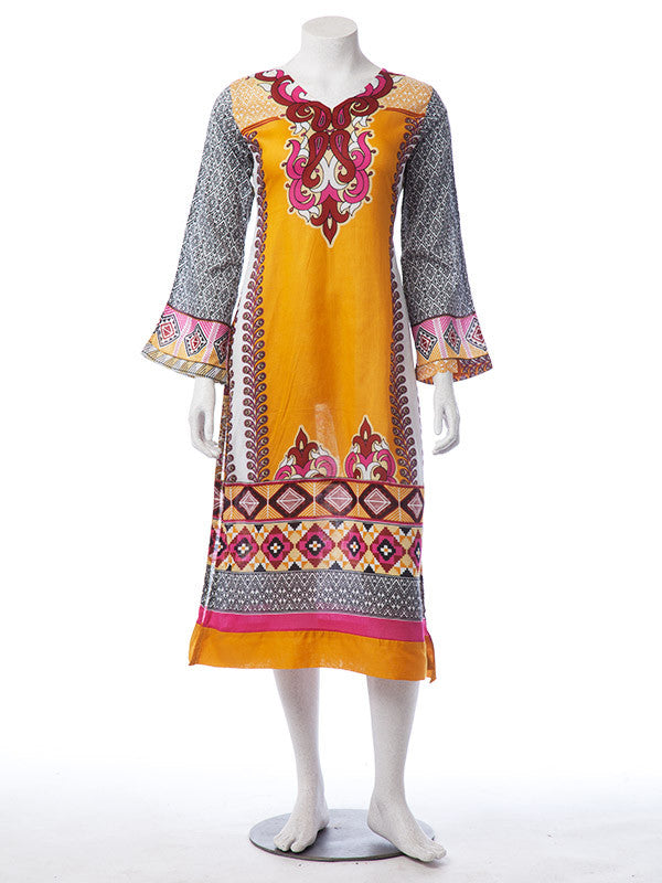 5d69c13d48 Mustard Colored 3 Pieces Digitally Printed Ready to Wear Lawn Suit ...