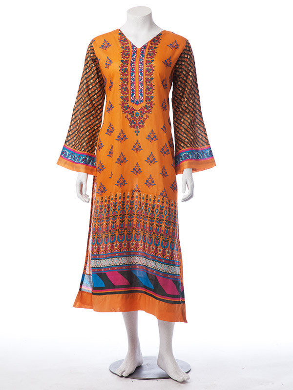 Tangerine colored 3 Pieces Digitally Printed Ready to Wear Lawn Suit