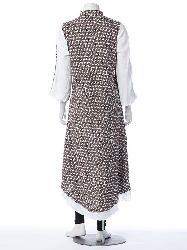 White Linen Tunic with Black Brown Print