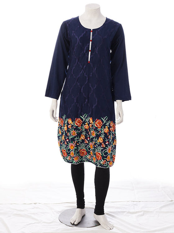 Floral Embroidery on Midnight Blue Tulip Pants Set