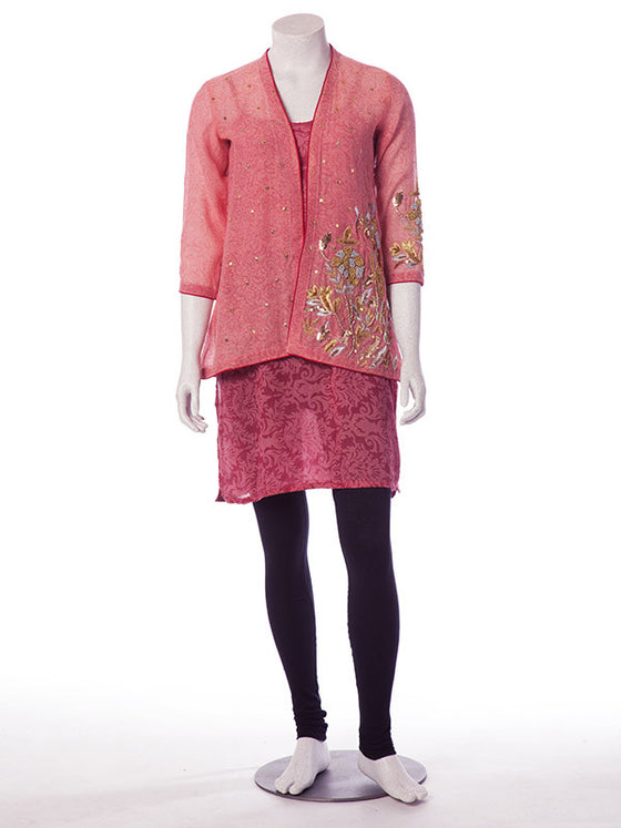 Sammy K's Salmon Pink Tunic with Waist Jacket