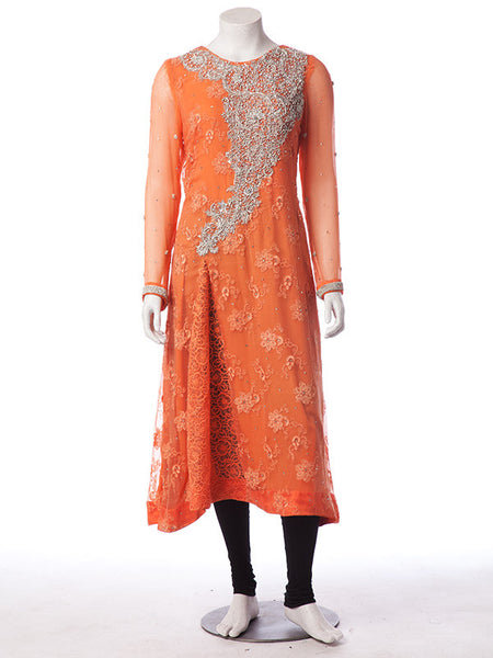 Dabka and Stones work on Merigold Orange Floral Embroidered Chiffon