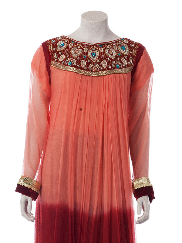 Peach and Red shaded Chiffon shirt with Stones Work
