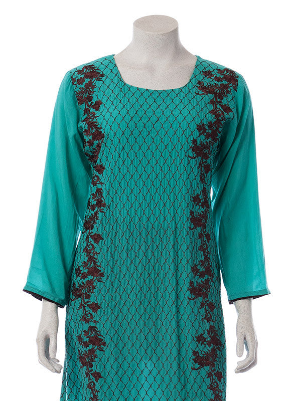 Fully Embroidered Teal Butter Linen Shirt with pant and dupatta