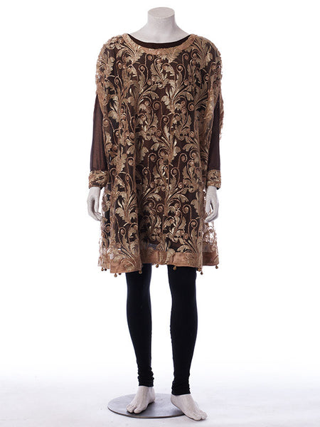 Ready to Wear Pecan Brown Embroidered Net Cape