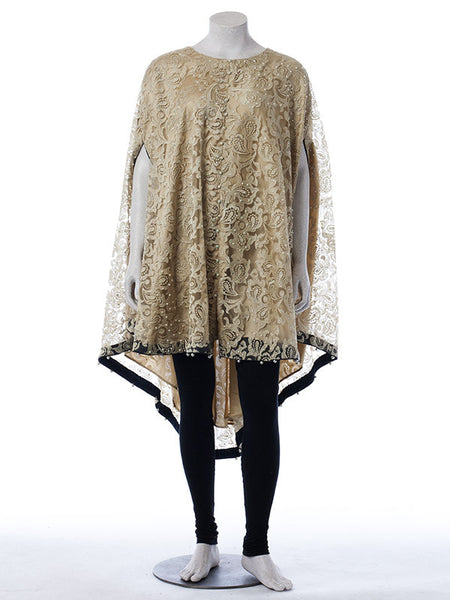 Ready to Wear Oyster Net Embroidered Cape