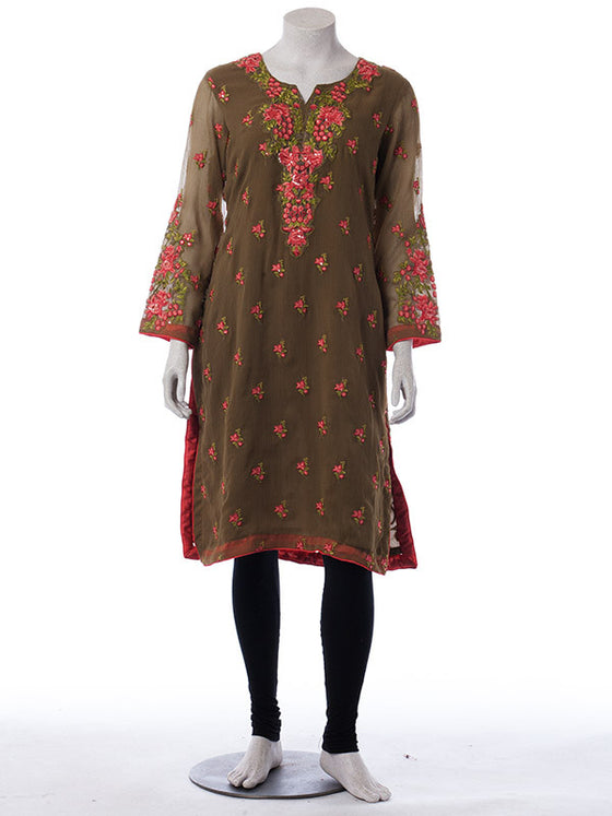 Ready to Wear Cinnamon Brown Embroidered Outfit