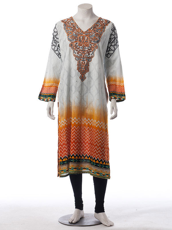 Pearl White and Mustard Digital Print Ready to Wear Lawn Suit