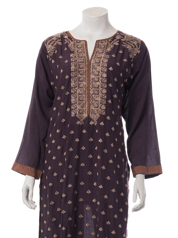 Caramel Floral Embroidery on Mocha Brown Butter Linen Outfit