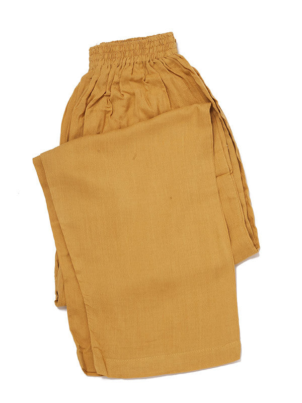 Mustard Embroidery on Carob Brown Embroidered Butter Linen Outfit