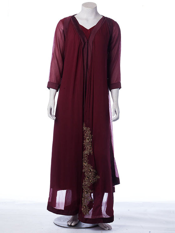 Mahogany Red Ready to Wear Gown Set