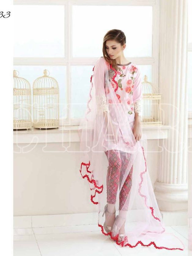 Charizma Swiss Lawn Baby Pink Embroidered Top with Chiffon Dupatta