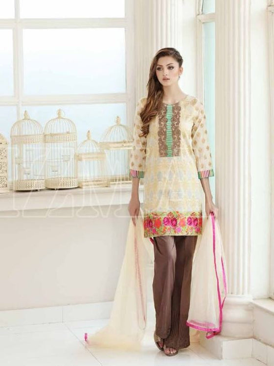 Charizma Swiss Lawn Off-white Print with Floral Embroidery and Chiffon Dupatta