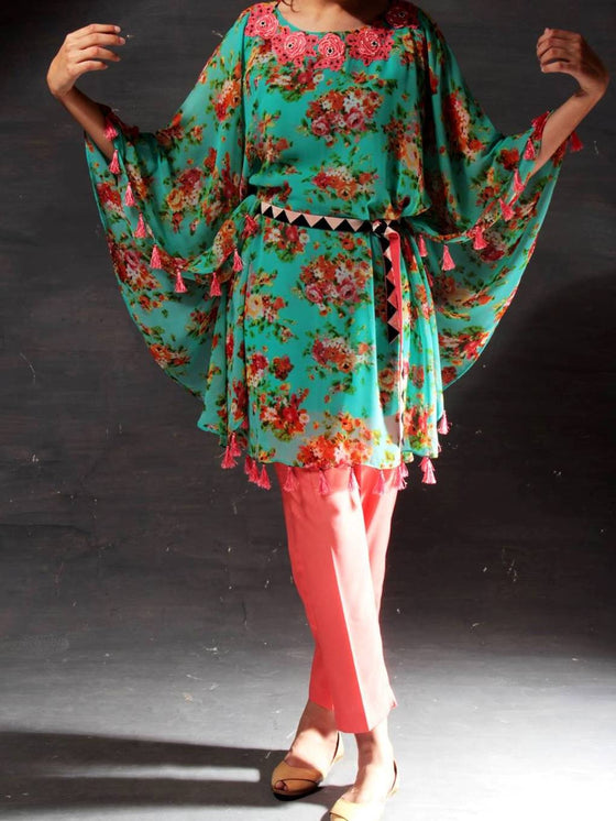 Chiffon Kaftan with Floral Embroidery and Silk Pants