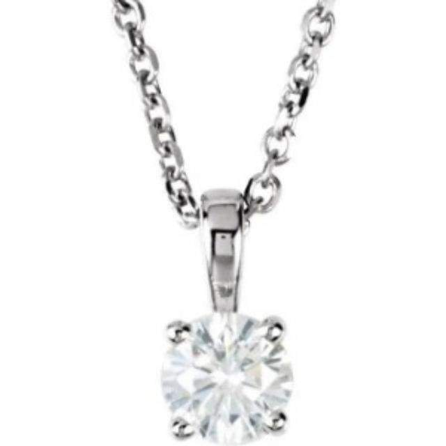 "Necklace 14K 1/10 Carat Diamond Pendant with Adjustable 16-18"" Necklace"