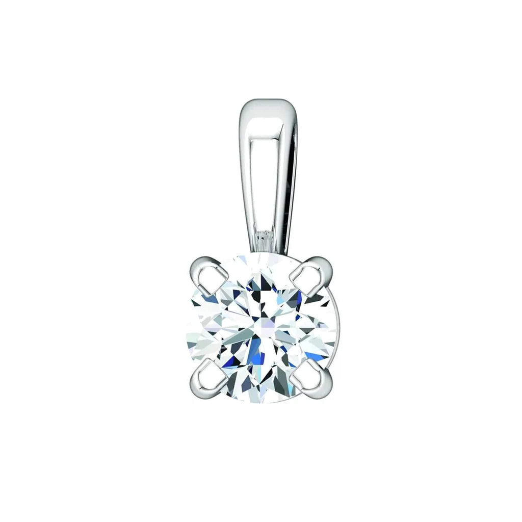 "Necklace 14K White Gold / GH Color VS Clarity (Best) 14K 1/10 Carat Diamond Pendant with Adjustable 16-18"" Necklace"