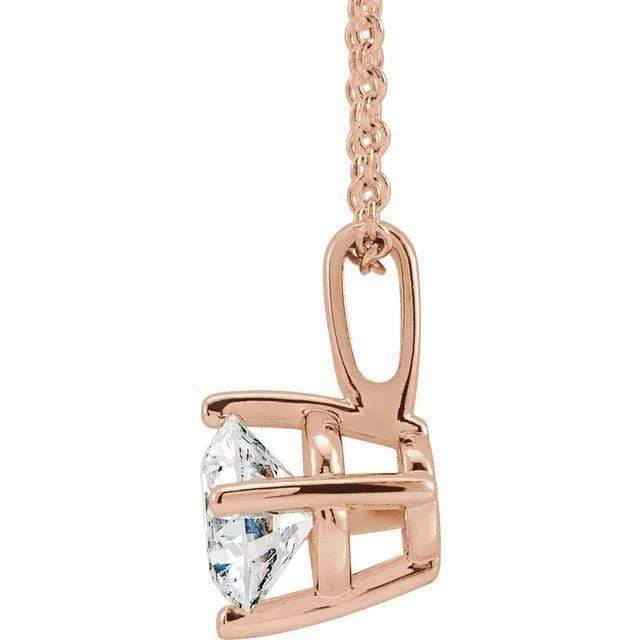 "Necklace 14K 1/4 Carat Diamond Pendant with Adjustable 16-18"" Necklace"