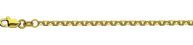 Chain 16 inches / Yellow 14K Gold 1.15 mm Diamond Cut Cable Chain with Lobster Claw Clasp