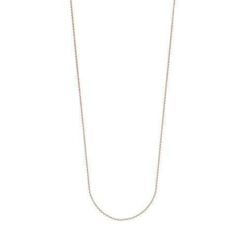 Chain 16 inches / Rose 14K Gold 1.15 mm Diamond Cut Cable Chain with Lobster Claw Clasp