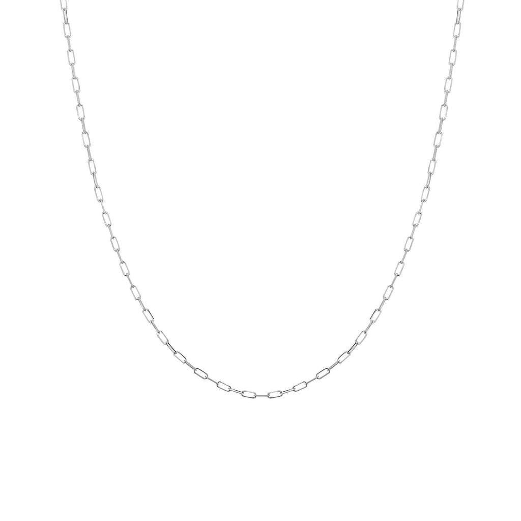 Chain 16 inches / White 14K Gold 1.95 mm Diamond Cut Forzatina Paper Clip Chain with Lobster Claw Clasp